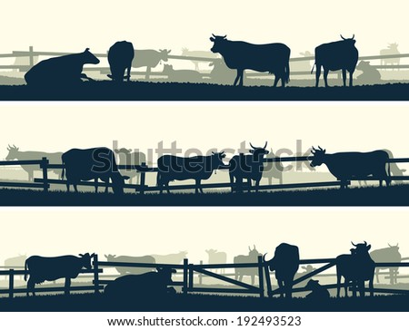 Horizontal vector banner silhouettes of grazing farm animals with fence (cows and bulls).   - stock vector