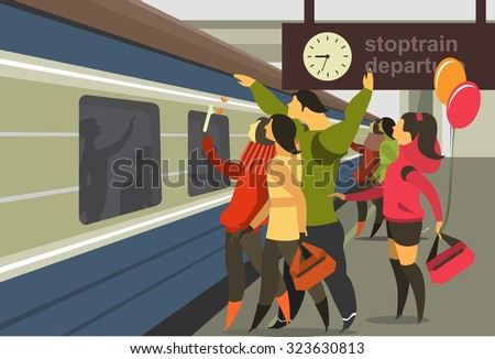 Horizontal vector illustration of a train station platform of the train people to meet the train - stock vector