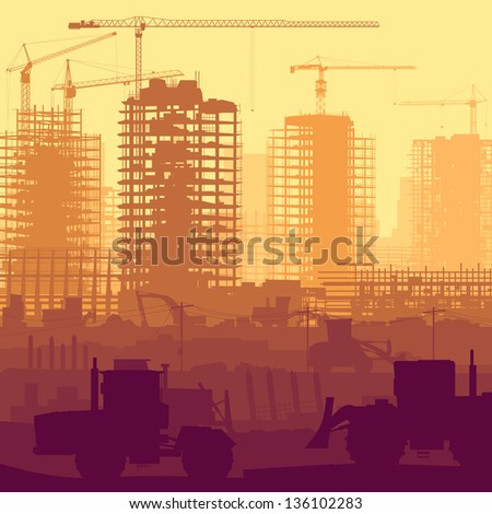 Horizontal vector illustration of construction site with cranes and skyscraper under construction with tractors, bulldozers, excavators and grader. - stock vector