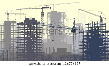 Horizontal vector illustration of construction site with cranes and skyscraper under construction in yellow-grey. - stock vector