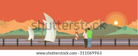 Horizontal vector illustration of the evening Pier is a couple in love and looking at the water - stock vector