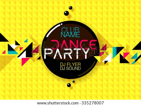 Horizontal yellow music party background with colorful graphic elements and place for text.  Vector illustration. - stock vector