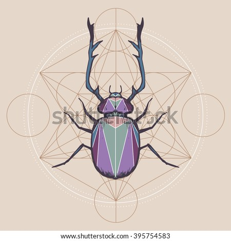 Horned bug with sacred geometry background; hand drawn magic insects illustration in sketch style; - stock vector