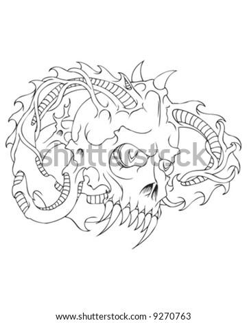 horned skull - stock vector