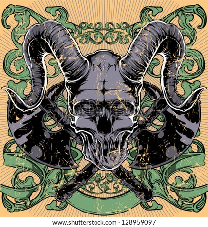Horned skull / Also available in separate layer the original vector without scratch - stock vector