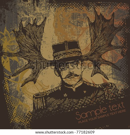 horny officer and grunge scratched background. vector illustration. - stock vector