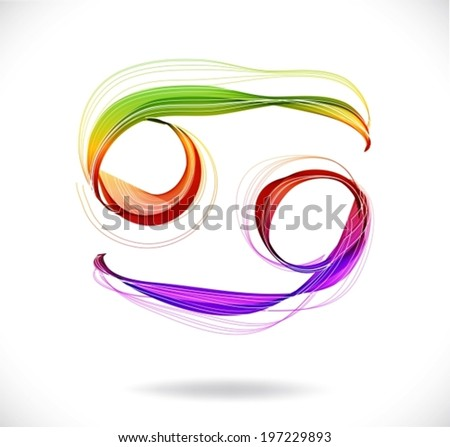 Horoscope: abstract color sign of the zodiac - Cancer, beautiful illustration, VECTOR - stock vector