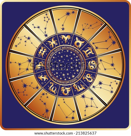Horoscope circle with  Zodiac signs and constellations of the zodiac.Inside are text and stars.Gold round on blue background.Retro style.Vector illustration - stock vector