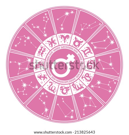 Horoscope circle Zodiac signs and constellations of the zodiac.Inside the symbol of gender character.Design for women.Pink and white colors.Vector illustration - stock vector