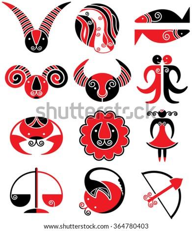 Horoscope signs.   - stock vector