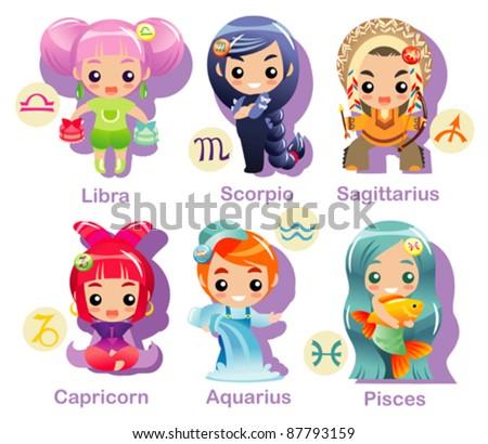Horoscope symbols set part 2, last 6 Zodiac symbols - stock vector