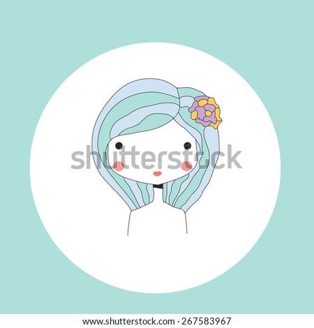 Horoscope Virgo sign, girl head, vector illustration - stock vector