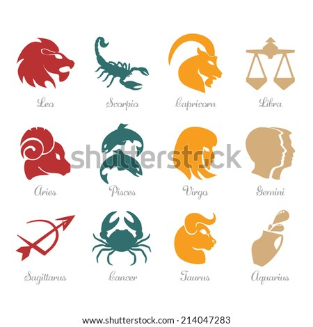 Horoscope zodiac signs - fire, earth, water, air - stock vector