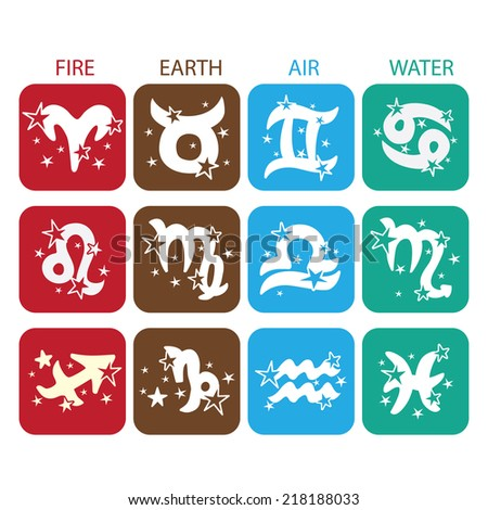 Horoscope zodiac signs. Twelve characters with stars in  icons style. The symbol of the four elements.Design for web and mobile. Vector illustration - stock vector