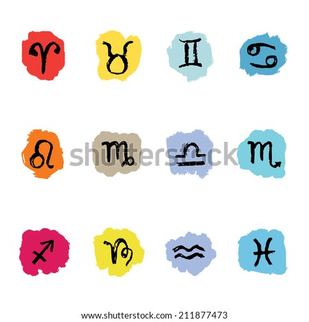 Horoscope Zodiac Star signs. Doodle Vector. Illustrations of twelve. - stock vector