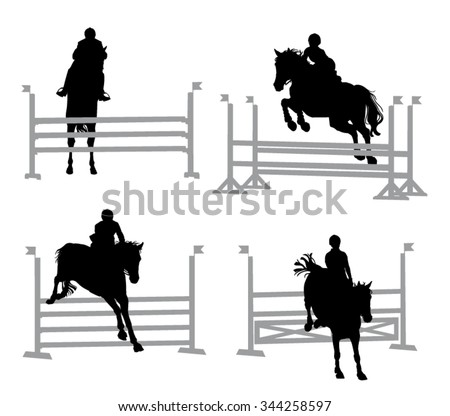 Horse and Rider jumping hurdles - Show Jumping Equestrian Silhouettes Isolated Set - stock vector