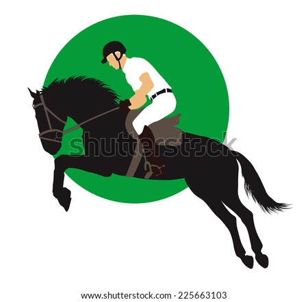 Horse and rider jumping on green background. Vector EPS10 - stock vector