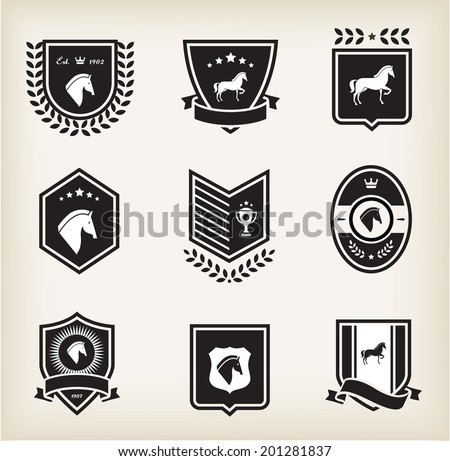 horse badges - stock vector