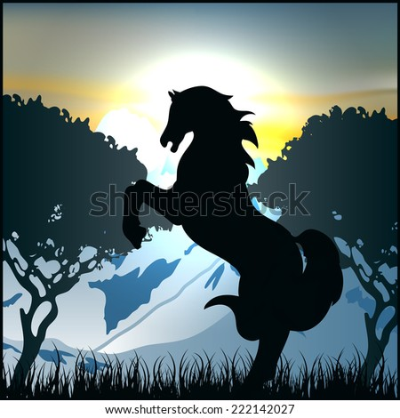horse black silhouette pasture - stock vector