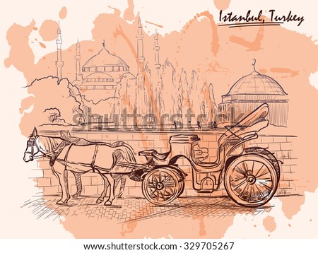 Horse drawn Landau waiting for tourists on the Sultanahmet square. Istanbul, Turkey. Sketch imitating ink pen drawing with a grunge background on a separate layer. EPS10 vector illustration. - stock vector