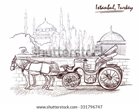 Horse drawn Landau waiting for tourists on the Sultanahmet square. Istanbul, Turkey. Sketch imitating ink pen drawing. EPS10 vector illustration. - stock vector