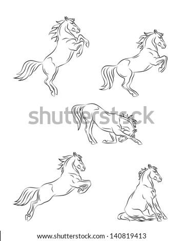 Horse dressage - stock vector