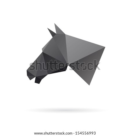 Horse head abstract isolated on a white backgrounds, vector illustration - stock vector