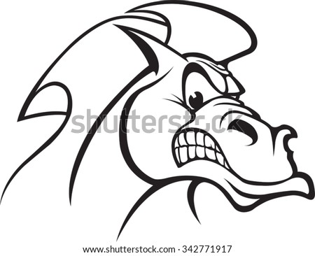 Horse Head B_W A cartoon Horse Head. Vector file available. - stock vector