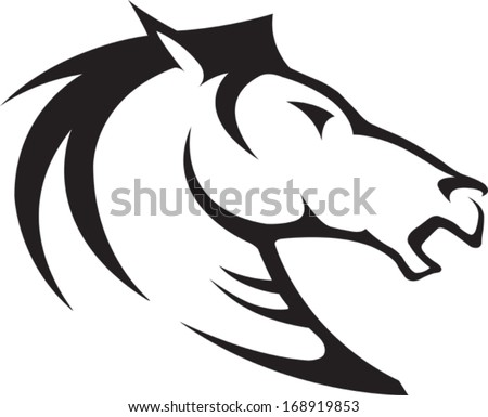 Horse Head Illustrated Horse Bust Profile. Black and White. Vector file. - stock vector