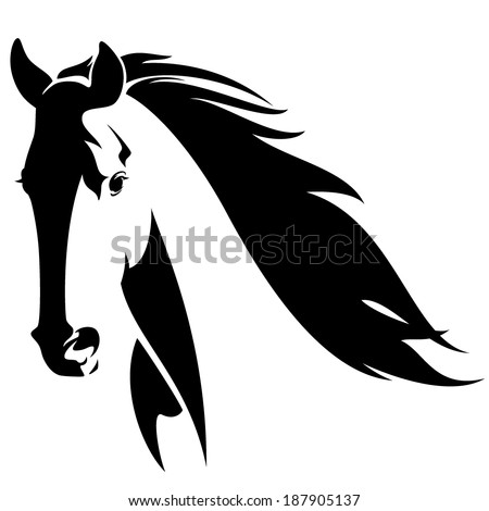 horse head with flying mane black and white vector design - stock vector