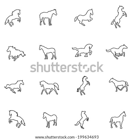 Horse icon line drawing  by hand Set 4 - stock vector