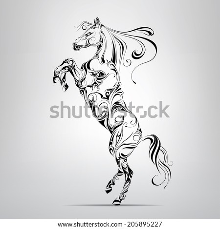 Horse in an ornament. Vector illustration - stock vector