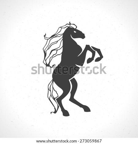 Horse logo emblem template mascot symbol for business or shirt design. Vector Vintage Design Element. - stock vector