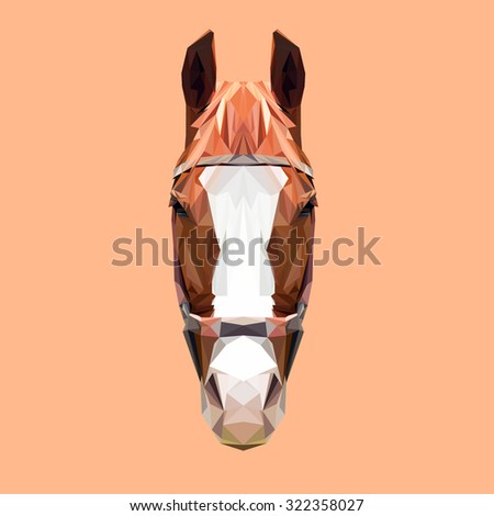 Horse low poly design. Triangle vector illustration. - stock vector