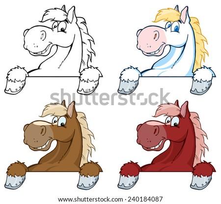 Horse Mascot Cartoon Head Over Sign. Vector Collection Set - stock vector
