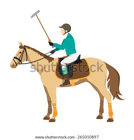 Horse polo player. Badges and design elements. Sport polo player with mallet. Polo stick - stock vector
