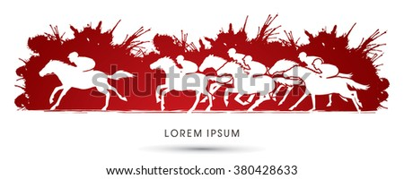 Horse racing ,Horse with jockey, designed on splash blood background graphic vector. - stock vector