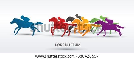 Horse racing ,Horse with jockey,graphic vector. - stock vector