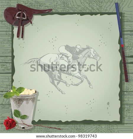 Horse Racing Party Invitation with saddle, mint julep, whip with a vintage jokey and horse on barn wood. Great for the Kentucky Derby or any horse themed event. - stock vector