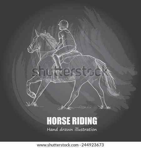 Horse Riding background Design. Hand drawn. chalkboard. vector. - stock vector