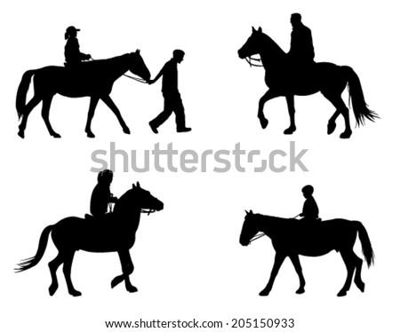 horse riding silhouettes - stock vector