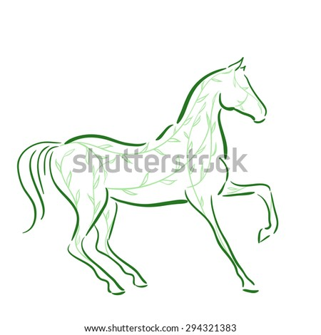 Horse`s silhouette with green floral lines in motion. Vector. - stock vector