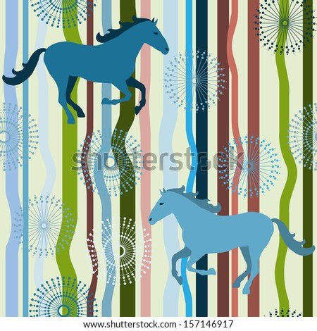 Horse seamless pattern. Vector pattern for web-design, textile, graphic design.   - stock vector