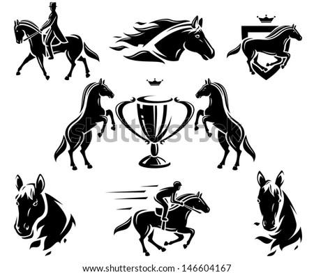 Horse set. Vector - stock vector