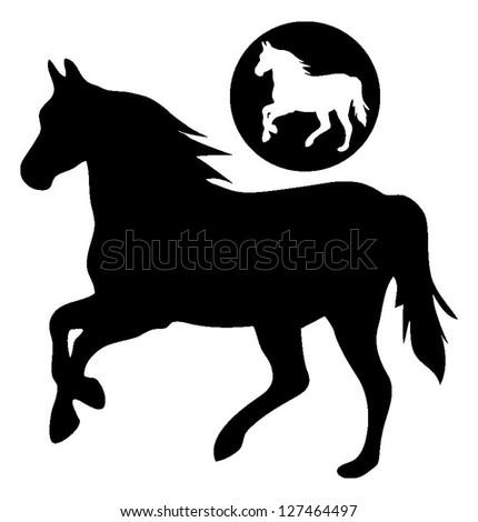 Horse silhouette vector - stock vector