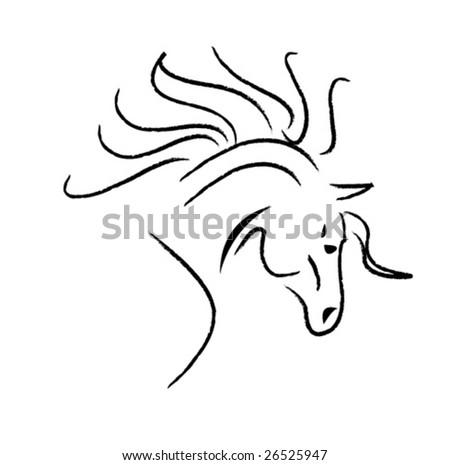 horse sketch - stock vector