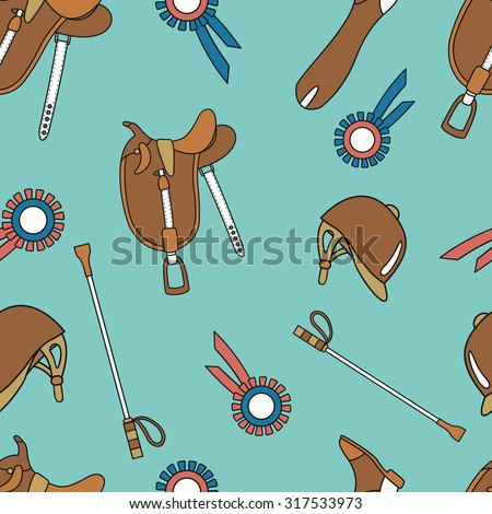 Horseback and riding essentials hand drawn seamless pattern. Doodle collection accessories for riding. Background vector. Sketch pattern of equestrian equipment for horse. - stock vector