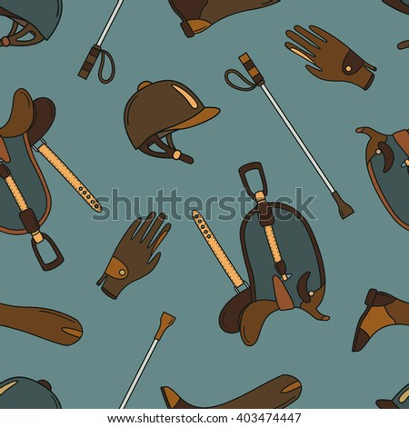 Horseback and riding essentials hand drawn seamless pattern. Doodle collection accessories for riding. Background vector. Sketch backdrop of equestrian equipment for horse - stock vector
