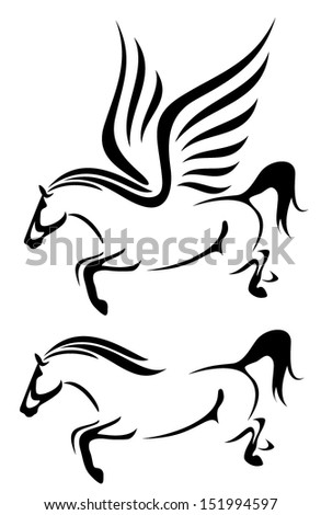 horses black and white vector outline - jumping stallion and flying pegasus - stock vector