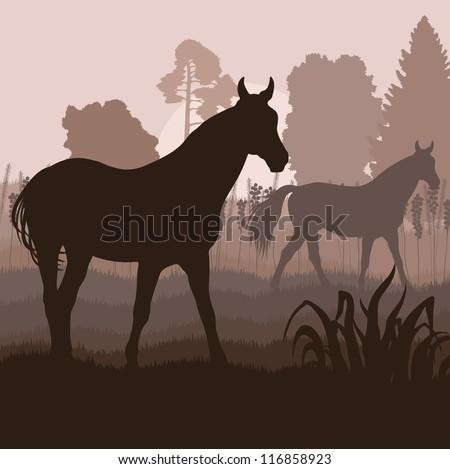 Horses in field vector background - stock vector